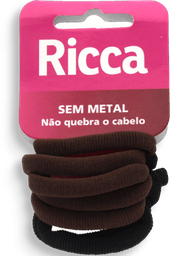 Elástico Para Cabelo Sem Metal Basics Fashion Ricca 6 Und