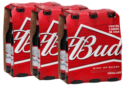 3 x Pack Com 6 Cervejas Budweiser Long Neck 330 mL
