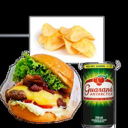 2 por 1 X-Salada bacon + Chips + Refrigerante