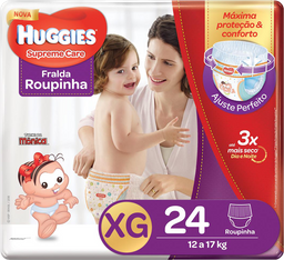 FRALDA ROUPINHA HUGGIES SUPREME CARE XG 24 UNI.