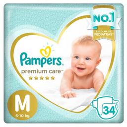 Pampers Premium Care Tamanho Medio Com 34 Tiras