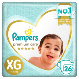 Fralda Pampers Premium Care Tamanho Extra Grande Com 26 Tiras