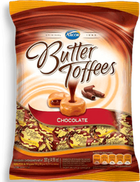 Bala Butter Toffes Sabor Chocolate Arcor Pacote 130g