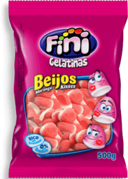 Bala de Gelatina Fini Beijos de Morango 100g