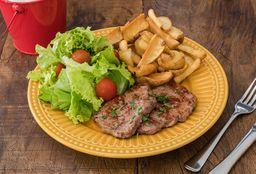 Steak e  Salad com Fries