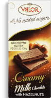 Chocolate Milk W/Hazelnut Creamy No Sugar Valor 100g