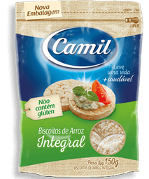Mini Biscoito De Arroz Integral Camil 150g G
