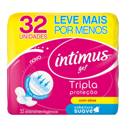 Absorvente Abas Malha Suave Intimus Rosa Gel Tripla Proteç - 32U