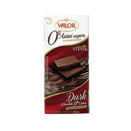 Barra De Chocolate Amargo c/ Stevia 52% Cacau Valor Dark 100 g