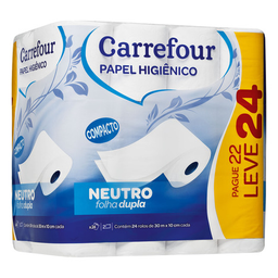 Papel Higiênico Carrefour Folha Dupla 30m Leve 24 Pague 22