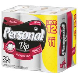 Papel Higiênico Personal Folha Dupla 30m Vip Leve 12 Pague 11