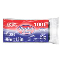 Saco De Lixo Embalixo Super Econômica Preto 25U De 100 L