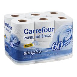 Papel Higiênico Carrefour Folha Simples 60m 12 Und