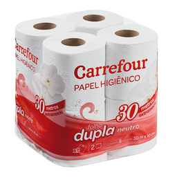 Papel Higiênico Folha Dupla 30 Metros Carrefour Neutro x 8 Un.