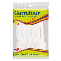 Garfo Descartável Branco Para Refeições Carrefour 50 Unidades