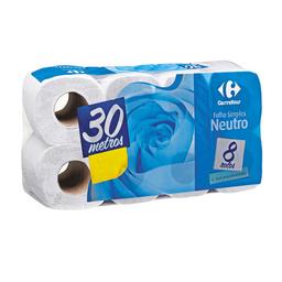 Papel Higiênico Carrefour Folha Simples 30m 8 Und