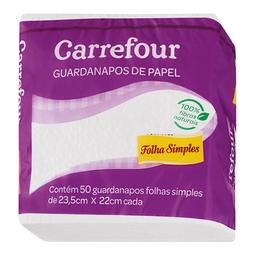 Guardanapo Folha Simples 23,5X22cm Carrefour 50 Und