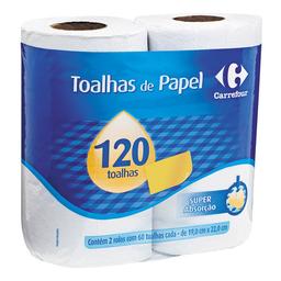 Papel Toalha Branco Carrefour 2 Unidades