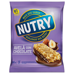 Barra De Cereal Sabor Avelã Com Chocolate Nutry 3 Unidades