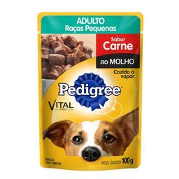 Ração Úmida Pedigree Sachê Carne Cães Adultos Pequenos 100g