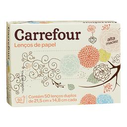 Lenço De Papel Folha Dupla Carrefour Caixa Com 50 Unidades