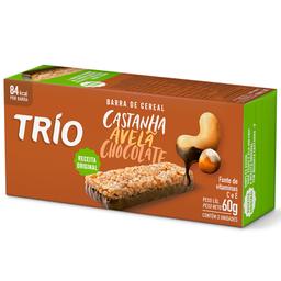 Barra de Cereal de Avelã e Castanha com Chocolate Trio 60g c/3 u