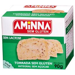 Torrada Integral Sem Açúcar, Sem Glúten e Sem Lactose Aminna 90g