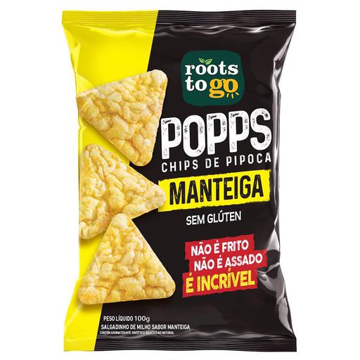 Salgadinho Chips de Pipoca Sabor Manteiga Popps Roots To Go 100g