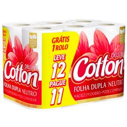 Papel Higiênico Neutro Folha Dupla Cotton 30m Leve 12 Pague 11
