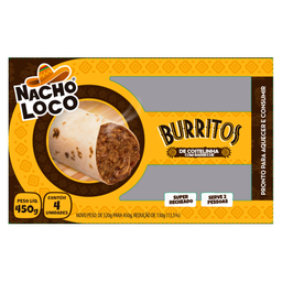 Burrito Costelinha Barbecue Nacho Loco 450g com 4 unidades