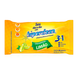 Lenço Umedecido Limão 3 em 1 Hiperclean com 20 unidades