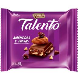 Chocolate ao Leite Amendôas e Passas Talento Garoto 90g