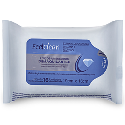 Lenço Umedecido Demaquilante Feelclean com 16 unidades