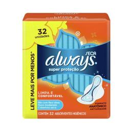 Absorvente Super Proteção Seca com Abas com 32 Always