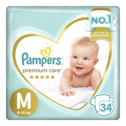 Fraldas Pampers Premium Care M com 34 unidades