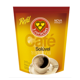 Café Tradicional Solúvel Refil 3 Corações 50g