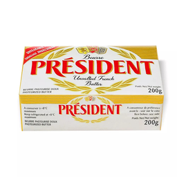 Manteiga em Tablete sem Sal President 200g