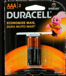 Pilha Alcalina AAA Duracell com 2 unidades