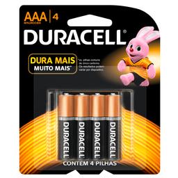 Pilha Alcalina AAA Duracell com 4 unidades