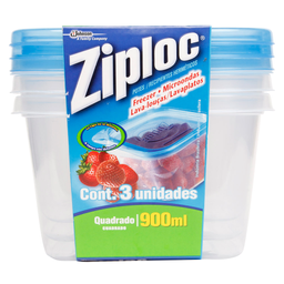 Pote Quadrado Ziploc 900 ml 3 unidades