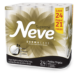 Papel Higiênico NEVE Supreme Leve 24 Pague 21 - 24 Rolos