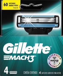 Lâminas de Barbear Gillette Carga Mach3 Embalagem Com 4 Unidades