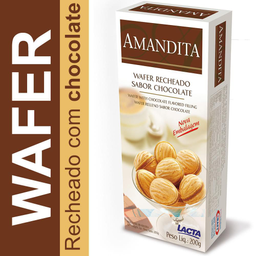 Lacta Amandita Wafer Recheado Sabor Chocolate