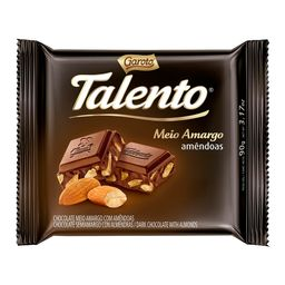 Chocolate Talento Garoto Meio Amargo Amêndoas 90 g