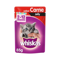 Ração Úmida Whiskas Sachê Carne Jelly Gatos Filhotes 85 g