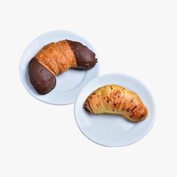 Croissant de presunto e queijo + Croissant de chocolate