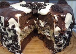 Bolo Brownie de Oreo - Fatia