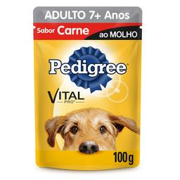 Ração Úmida Pedigree Para Cães Adultos 7+ Anos Sachê Sabor Carne