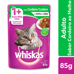 Ração Úmida Whiskas Sachê para Gatos Adultos Sabor Cordeiro ao M