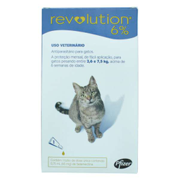 Revolution Zoetis 6% 0.75ml para Gatos 2,6Kg a 7,5Kg (1 bisnaga)